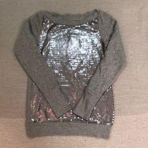 LOFT sequin front gray sweatshirt XS